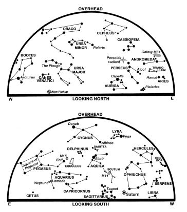 The maps show the sky at 00:00 BST on the 1st, 23:00 on the 16th and 22:00 on the 31st. (Click on map to enlarge)