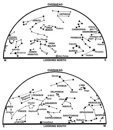 The maps show the sky at 23:00 BST on the 1st, 22:00 on the 16th and 21.00 on the 30th. (Click on map to enlarge)